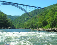 The New River Gorge Bridge: taken from the river cruise